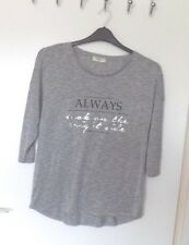 PAPAYA  Size 14 GREY MIX STRETCH LONGER BACK TOP ' MOTTO ' FRONT