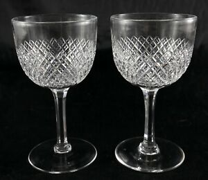 Pair stunning Antique lead crystal small sipping liqueur spirit glasses