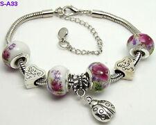 One New Handmade Beautiful Charm Bracelet European Style Porcelain Beaded S-A33