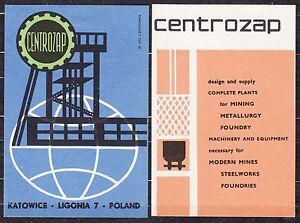 POLAND 1967 Matchbox Label - Cat.G#121a/122r CENTROZAP - plants for mining ...