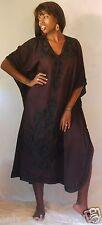 exclusive black caftan dress embroidery rayon  M L XL 1X 2X ONE SIZE