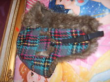 NWOT Claires adult womens juniors plaid girly fake fur ear flap caps hats winter