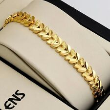 "Women Bracelet 18K Yellow Gold Filled Fashion Chain 7.7"" Link Jewelry 2017 NEW"