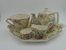 Vintage Royal Winton Chintz Floral Feast Breakfast Set Tea For One Teapot