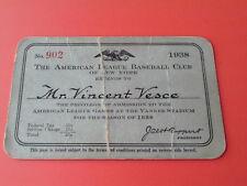 RARE  1938  YANKEE  STADIUM  A.L.  BASEBALL  CLUB  PASS  TICKET   JACOB  RUPPERT
