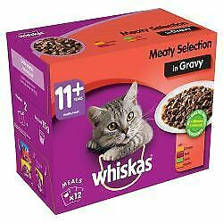 WHISKAS 11+ Cat Pouches Meaty Selection in Gravy 12x100g pk - k 100 - 582375