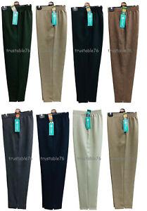 Ladies Women Smart Summer Herringbon Half Elastic Waist Pull On Trouser UK Made
