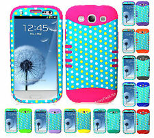 KoolKase Hybrid Silicone Cover Case for Samsung Galaxy S3 - Polka Dots Teal 32