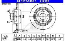 ATE Juego de 2 discos freno 292mm para RENAULT CLIO SEAT LEON 24.0112-0189.1