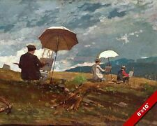 THREE ARTISTS WORING ON LANDSCAPE OIL PAINTING ART GICLEE PRINT ON REAL CANVAS