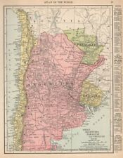 Chile, Argentina, Paraguay and Uruguay. South America. RAND MCNALLY 1912 map