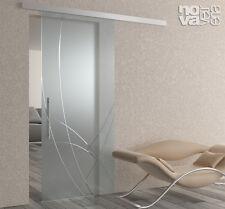 porta scorrevole vetro esterna a misura temperato ammortizzata decoro inciso