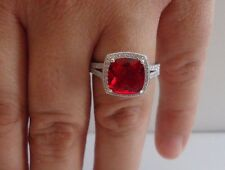 925 STERLING SILVER RING W/ 6 CT RUBY & ACCENTS /SIZE 5 TO 9 AVAILABLE/STUNNING!