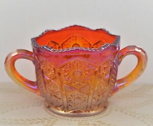 INDIANA RED AMBERINA CARNIVAL GLASS 2- HANDLED SUGAR BOWL / CANDY DISH