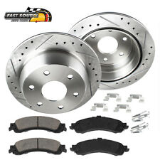 Rear Drill & Slot Brake Rotors And Ceramic Pads For Escalade Silverado Yukon