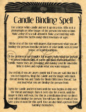 Candle Binding, Book of Shadows Spell Page, Witchcraft, Wicca, Spell Book Pages