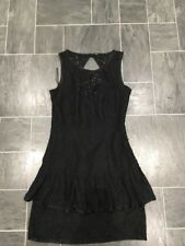 MANGO MOMENTS SMALL BLACK LACE TIERED SLEEVELESS DRESS WITH OPEN NECK BACK