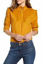 J Crew Embroidered Ruffle Mock Neck Floral Blouse Popover Top Size S Mustard