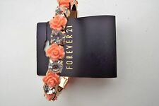 "FOREVER 21 -  Peach And Gold tone ""ROSES"" Stretch Bracelet BRAND NEW BEAUTIFUL"