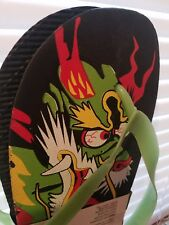 Hipflops Green Colorful Dragon Sandals Flip Flops SunTime Size L 11-12 NWT