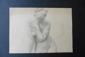 FRENCH SCHOOL 19thC - STUDY CLASSICAL FIGURE - VENUS - CHARCOAL DRAWING