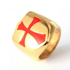 Cross Templars Retro Ring Fashion Jewelry Gift God wills it Mens 3 Color Red