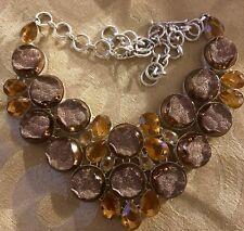 Sweet Caramel Druzy Silver Handmade Necklace Jewelry