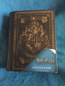 Harry Potter Saving Bank / Money Box Hogwarts Crest Metal Book / Box VGCondition