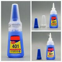 2X 20g 401 Instant Adhesive Bottle Stronger Super Glue Multi-Purpose Clear Glue