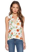 $228 EQUIPMENT Womens S Small Keira Sunkissed Floral Print Silk Top Blouse White