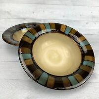 Pfaltzgraff CAYMAN Brown Blue Tan Block Rim  Stoneware Soup Cereal  Bowls Set 2