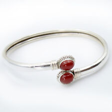Bangle Carnelian Silver 925 Red Armband 2 CABOCHON Precious Stone Choker H