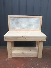 Custom Made Kids Heavy Duty Timber Work Bench Table With Peg Board
