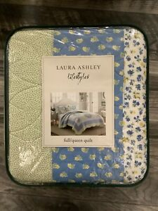 Laura Ashley Belle full/queen Size Quilt Brand FLORAL blue green cottage New