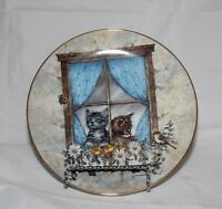 "Cat Kitty Collector Plate ""Unexpected Visitors"" Joseph Giordano 1991 Bradford"