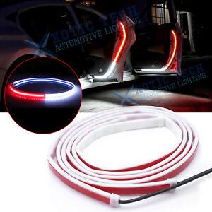 2x Car Door LED Warning Welcome Strip Light Signal Flashing Lamp Anti-collision