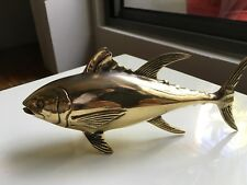 TUNA  FISH solid  BRASS (hollow) statue 23 cm display trophy heavy 30 cm B