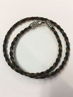Western Necklace French Braided Horse Hair  6mm  Black with Brown NO EXTENDER