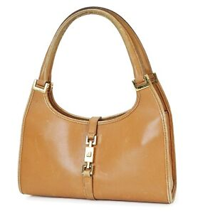 Auth GUCCI Jackie O Brown Leather Tote hand Bag Purse #39646