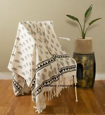 Reversible Hand Woven Cotton Warm Throw Blanket Ethnic Bedding Couch Soft Decor