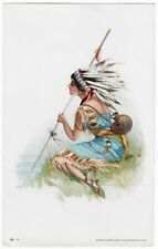 Rare 1908 Antique Indian Maiden Early Pin-Up Jessie Parker Barrick Litho Print