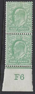 GB :ED VII 1/2d yellow- green control F6 IMPERFORATE  margin mint vertical pair