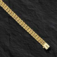 "14k Solid Yellow Gold 3 Strand Multi Line Rope Bracelet 8"" 7.5 MM 12 grams"
