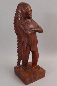 Western Folk Art American Indian Carved Wood Indian Chief Headdress War Bonnet