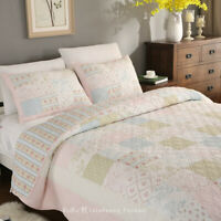 Country Floral 100% COTTON Patchwork Quilt Bedspread Coverlet Full/Queen Set
