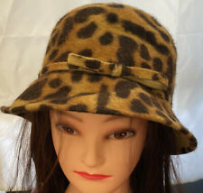 Nordstrom Vintage 100% Rabbit Hair Leopard Print Bucket Style Hat Made in Italy