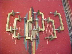 OLD GOLD FINISH CAST IRON PULLS BIN, DRAWER, CHEST HANDLE SET OF 6