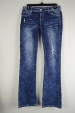 Almost Famous Juniors 9 Denim Jeans acid washed sequin accents 29 X 32 1/4