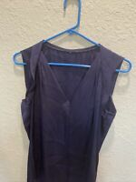 Vince Navy Blue Silk V-Neck Sleeveless Top Size M (no Tag)