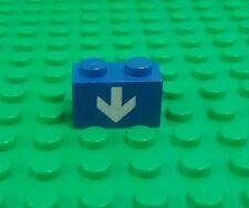 Lego Blue 1x2 Brick White Down Arrow Classic Space Rare Brick x 1 piece